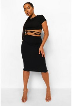 Black Plus Rib Tie Wrap Midi Skirt