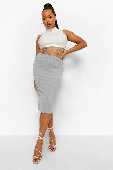 Grey Plus Rib Tie Wrap Midi Skirt