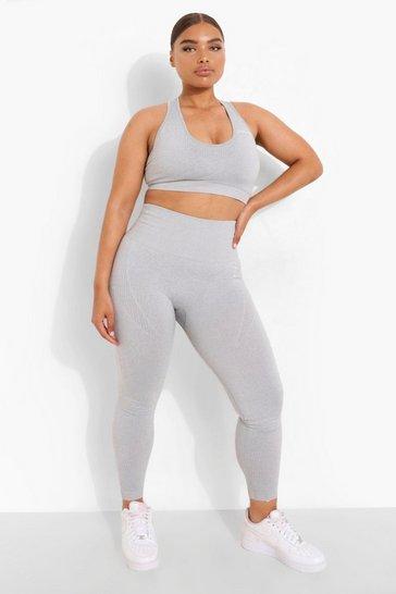 Grey Plus Seamfree Contour Gym Leggings