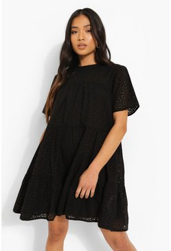 Black Petite Broderie Short Sleeve Smock Dress