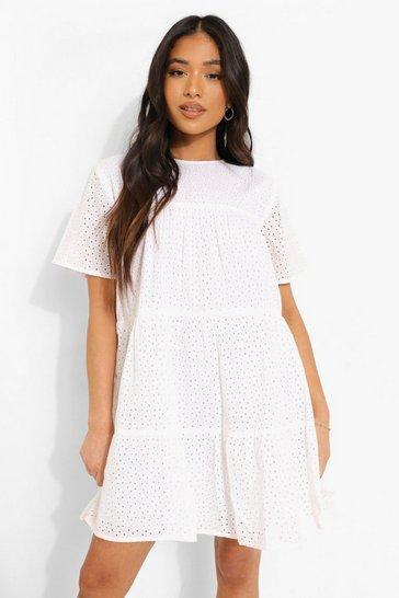 White Petite Broderie Short Sleeve Smock Dress