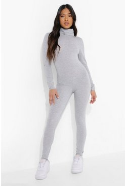 Grey marl grey Petite Roll Neck Long Sleeve Unitard