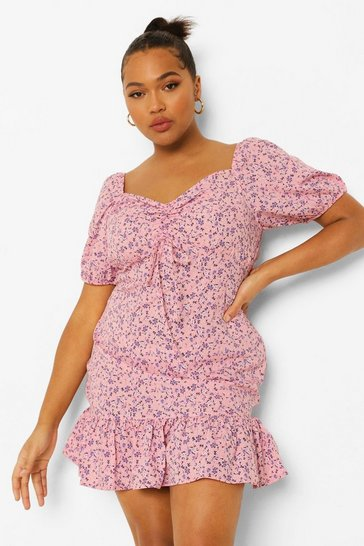 Pink Plus Ditsy Floral Frill Hem Mini Dress