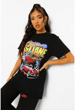 Black Petite Motorsport Los Angeles Printed T-shirt