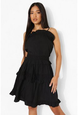 Black Petite Tiered Frill Detail Smock Dress