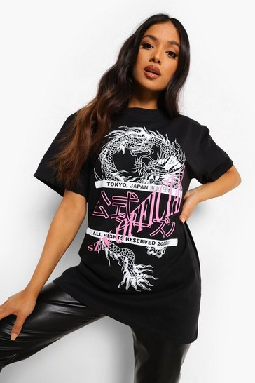 Black Petite Official Dragon Printed T-Shirt