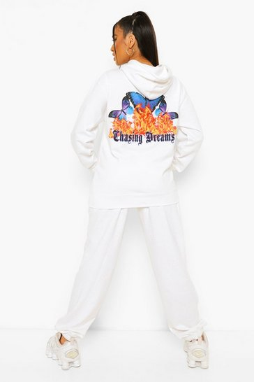 White Petite Butterfly Printed Slogan Tracksuit