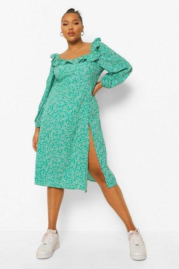 Green Plus Floral Print Square Neck Midi Dress