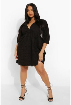 Black Plus Broderie V Neck Smock Dress