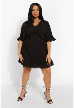 Black Plus Broderie Ruffle Detail Mini Dress