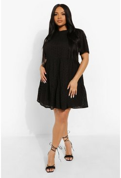 Black Plus Broderie Short Sleeve Smock Dress