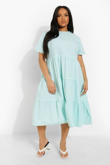 Mint green Plus Gingham Print Tiered Midi Smock Dress