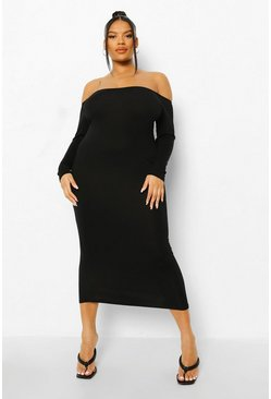 Black Plus Off The Shoulder Midaxi Dress