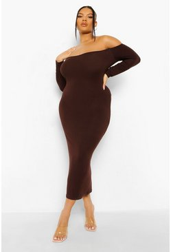 Chocolate brown Plus Off The Shoulder Midaxi Dress