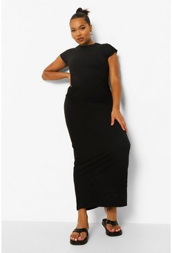Black Plus Cap Sleeve Maxi Dress