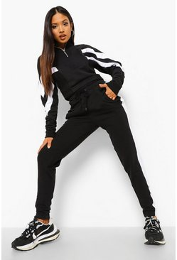 Black Petite Colourblock Half Zip Tracksuit