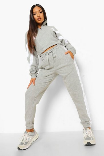 Grey marl grey Petite Colourblock Half Zip Tracksuit