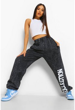 Black Petite Slogan Acid Wash Oversized Jogger