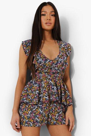 Black Petite Floral Print Tie Detail Playsuit