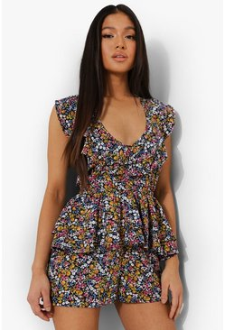 Petite Floral Print Tie Detail Playsuit, Black nero
