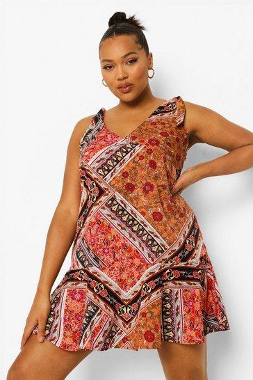 Black Plus Floral Print Frill Hem Mini Dress