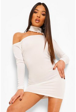 White Petite High Neck Cut Out Rib Dress
