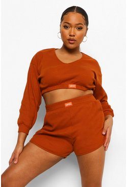 Terracotta orange Plus Premium Rib Ofcl Ribbed Shorts