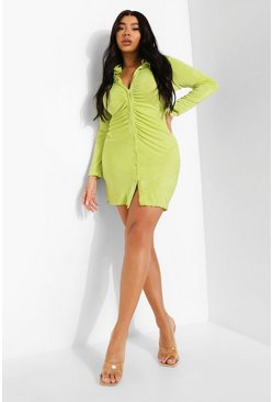 Lime green Plus Slinky Ruched Shirt Dress