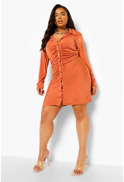 Rust orange Plus Slinky Ruched Shirt Dress