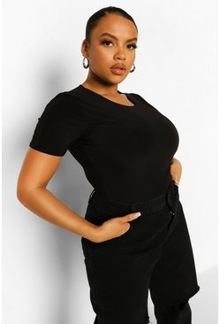 Black Plus Double Slinky Short Sleeve Bodysuit