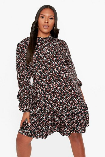 Black Plus Floral Ruffle Hem Smock Dress