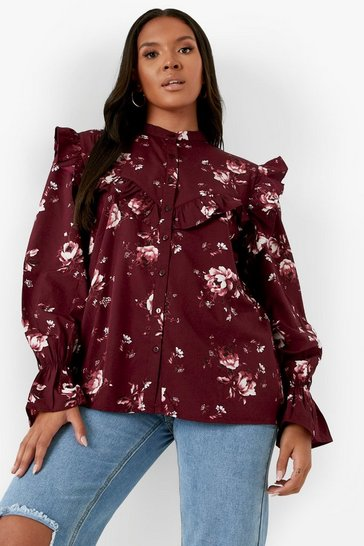 Purple Plus Frill Detail Shirt