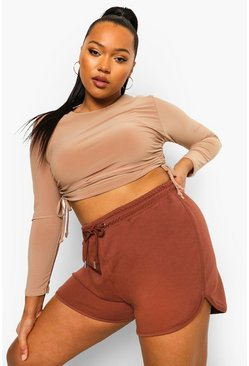 Chocolate brown Plus Loopback Runner Shorts