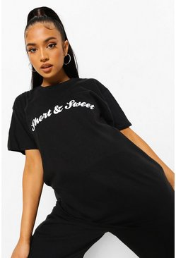Black Petite Short And Sweet Slogan T-Shirt