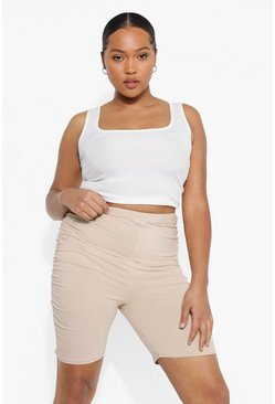 Stone beige Plus Ruched Cycle Short