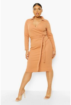 Plus Rib Collar Tie Belt Midi Dress, Camel beis