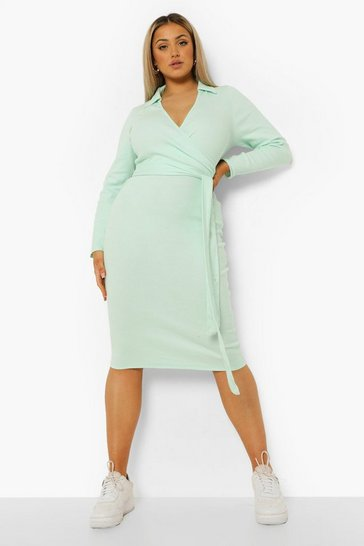 Sage green Plus Rib Collar Tie Belt Midi Dress