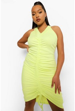 Lime yellow yellow Plus Rib Ruched Midi Dress