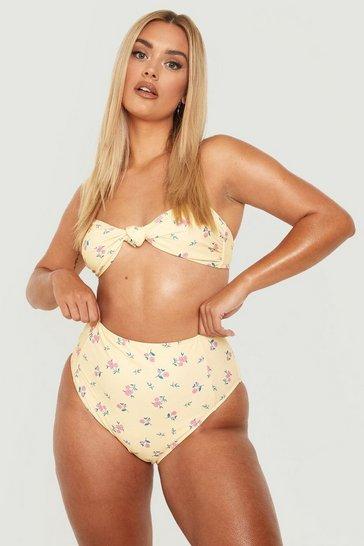 Lemon yellow Plus Floral Knot Front Bikini Top