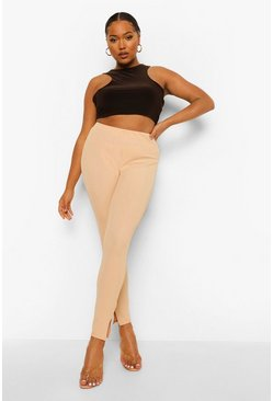 Stone beige Plus Bandage Rib Split Hem Leggings