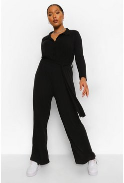 Black Plus Rib Collar Button Jumpsuit