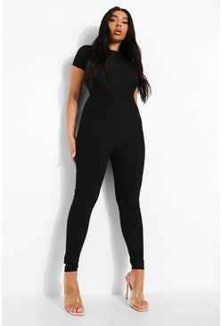 Black Plus Bandage Rib High Waisted Legging