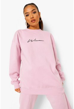 Lilac Petite Woman Embroidered Oversized Sweat