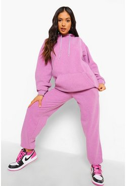 Petite Woman Overdyed Marl Tracksuit, Pink Розовый