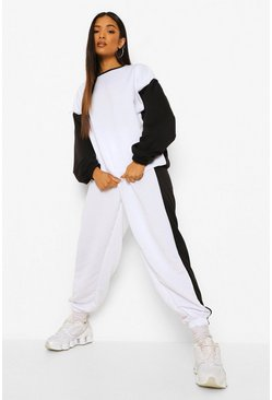 Black Petite Oversized Colourblock Tracksuit