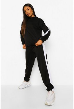 Black Petite Colourblock Side Stripe Tracksuit
