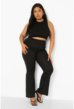 Black Plus Wide Rib Basic Trouser