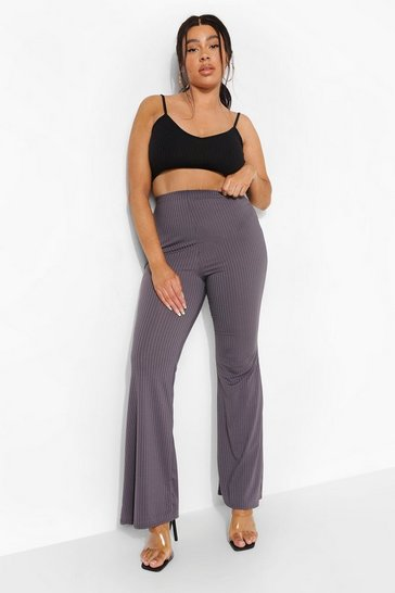 Charcoal grey Plus Wide Rib Basic Trouser
