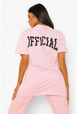 Baby pink pink Petite Official Front & Back Printed T-shirt