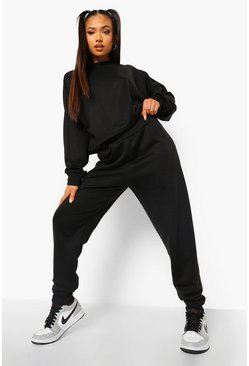 Black Petite Crop Sweat And Jogger Tracksuit